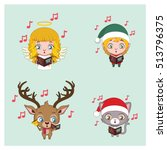 four different christmas... | Shutterstock .eps vector #513796375