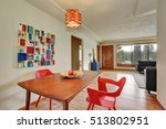 dining area interior with red... | Shutterstock . vector #513802951