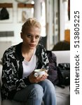 blonde woman resting at home ... | Shutterstock . vector #513805225