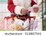 santa claus doing grocery... | Shutterstock . vector #513807541