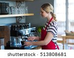 waitress making cup of coffee...   Shutterstock . vector #513808681