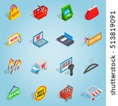 isometric shopping set icons....