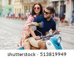young beautiful hipster couple... | Shutterstock . vector #513819949