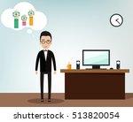 man in office dreaming.  vector ... | Shutterstock .eps vector #513820054