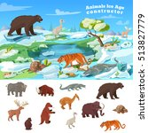 Animals Ice Age Concept With...