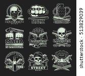 nine emblems set with gangsters ... | Shutterstock .eps vector #513829039
