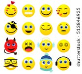 set of emotional bright yellow... | Shutterstock .eps vector #513846925