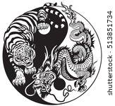 dragon and tiger yin yang... | Shutterstock .eps vector #513851734