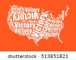 stylish usa map with victory... | Shutterstock .eps vector #513851821