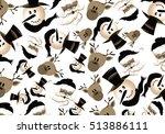 santa claus   snowman   deer... | Shutterstock . vector #513886111