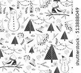 vector winter seamless pattern... | Shutterstock .eps vector #513888049