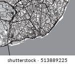 urban city map of lisbon ... | Shutterstock .eps vector #513889225