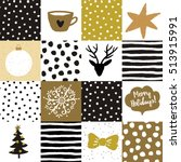 christmas golden patchwork... | Shutterstock .eps vector #513915991