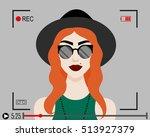 vector illustration with girl... | Shutterstock .eps vector #513927379