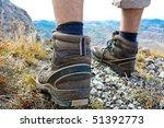 Hiking Boots At Rocks
