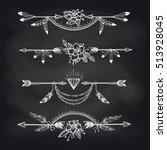 chalk boho style dividers with... | Shutterstock .eps vector #513928045
