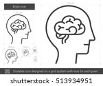 brain vector line icon isolated ... | Shutterstock .eps vector #513934951