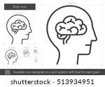 brain vector line icon isolated ... | Shutterstock .eps vector #513934951