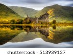 Kilchurn Castle reflections in Loch Awe at sunset, Scotland