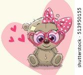 cute bear girl in sunglasses on ... | Shutterstock .eps vector #513950155