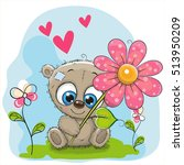 greeting card bear with flower... | Shutterstock .eps vector #513950209