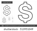 Dollar Sign Vector Line Icon...