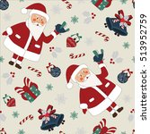 christmas seamless pattern with ... | Shutterstock .eps vector #513952759