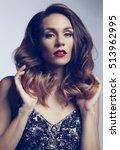 beautiful fashion women with... | Shutterstock . vector #513962995