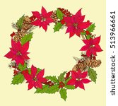 winter circlet of flowers with... | Shutterstock .eps vector #513966661