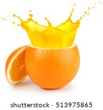 cut orange juice splashing... | Shutterstock . vector #513975865