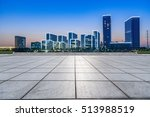 empty floor with modern skyline ... | Shutterstock . vector #513988519