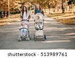 young mother walking with her... | Shutterstock . vector #513989761