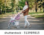 young mother walking with her... | Shutterstock . vector #513989815