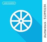 Cart Wheel Vector Icon On Blue...
