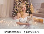 a beautiful young girl in a... | Shutterstock . vector #513993571