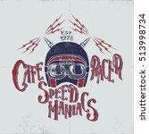 cafe racer biker helmet with... | Shutterstock .eps vector #513998734