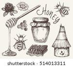 vector honey elements set. hand ...   Shutterstock .eps vector #514013311