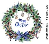 watercolor boho christmas... | Shutterstock . vector #514060129