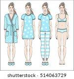 set of women  homewear ... | Shutterstock .eps vector #514063729