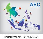 aec asean economic community map | Shutterstock .eps vector #514068661