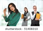 Managers having doubts about young employees ideas. Business situation. - stock photo