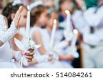 hands with candles of little... | Shutterstock . vector #514084261