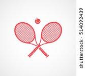 tennis racket cross emblem red... | Shutterstock .eps vector #514092439