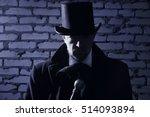 victorian man in the black coat ... | Shutterstock . vector #514093894
