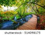boardwalk in the park plitvice... | Shutterstock . vector #514098175
