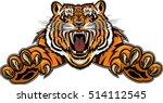 tiger jumping tattoo | Shutterstock .eps vector #514112545
