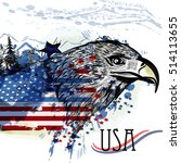 hand drawn eagle with american... | Shutterstock .eps vector #514113655