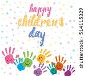 smiling hands on dots texture... | Shutterstock .eps vector #514115329