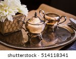 small teapot on a silver tray | Shutterstock . vector #514118341