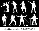 set of white silhouettes of...